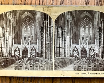 Stereoscope Stereoview 3D Photo Card 1800 Era Kilburn Brothers Card No. 2337 Nave Westminster Abbey