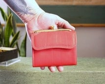 vintage red leather wallet by Amity . 1970s cowhide french purse . NOS, never used