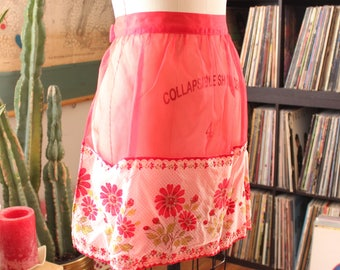 vintage sheer red apron with swiss dots and flocked daisies . red half apron . daisy apron with pockets