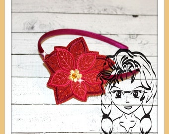 POiNSETTIA FLoWER HB Slider Hair Pretty Accessory ~ In The Hoop Headband ~ Downloadable DiGiTaL Machine Embroidery Design by Carrie