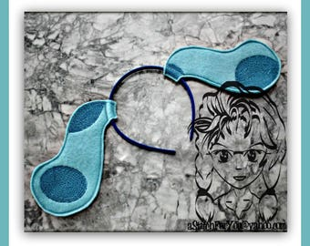 BLuE DoG DeTECTIVE EaRS ~ (2 Piece) Character Inspired Headband ~ In the Hoop ~ Downloadable DiGiTaL Machine Emb Design by Carrie