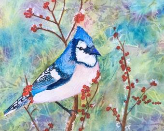 Blue Christmas Original Watercolor
