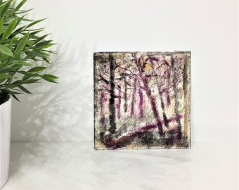Through the Woods - original painting (6x6 inches) - impressionist ,  contemporary art , miniature