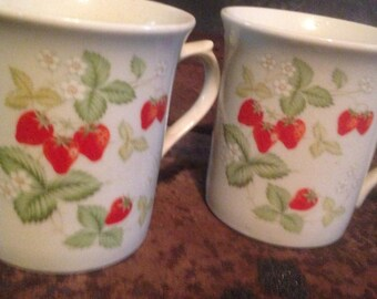 Wild Strawberry Mugs Vintage 1970s Coffee Cups Set Of Two For Your Retro Kitchen USA