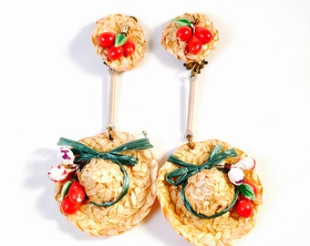 Vintage 1940's ROCKABILLY Straw Hat Earrings, 40s BEACHWEAR Earrings with Cherries
