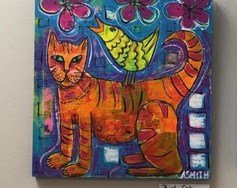 Bird Cat- Mixed Media Cat Painting