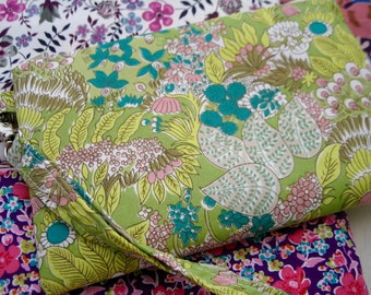 Wedding Clutch 2 pockets,medium,lime green floral,discount plan set, wristlet, cotton - wonder forest