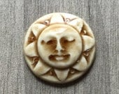 Sunshine Face Ceramic Cabochon Stone in Peachy Tan
