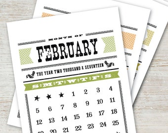 WOODTYPE Printable Calendar 2017 2018 Instant Download Digital Desk Calendar  Monthly Planner Western Vintage Retro