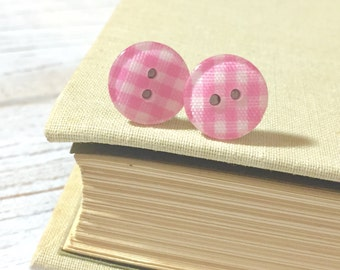Plaid Earrings, Pink Post Earrings, Button Stud Earrings, Surgical Steel, Bubblegum Pink Gingham Sewing Button Post Earrings (LB1)