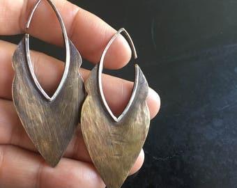Shield Earrings-brass and sterling metalwork