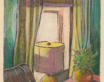 Sunday Morning Bedroom Window Still Life Collagraph Original Art Print Belinda DelPesco