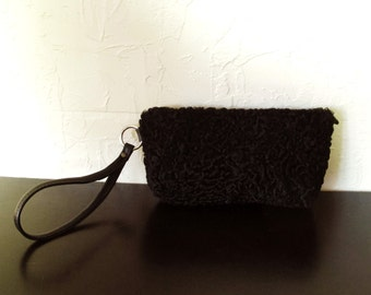 Persian Lamb Black Leather Clutch Wristlet Upcycled