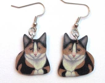 Handcrafted Plastic Calico Cat Earrings Made in USA