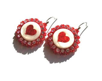 Sparkly Red Heart Earrings
