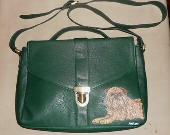 Red Brussels griffon Dog Hand Painted Ladies Handbag Shoulder Bag Purse Clutch Crossbody Bag Messenger Bag