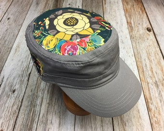 Women's Military Hat - Navy Floral Pattern - Cadet Hat in Grey