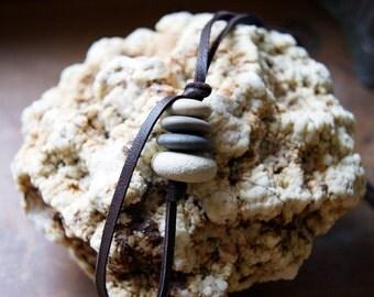 Beach Stone Cairn Necklace, Beach Stone Necklace, Beach Pebble Necklace, brown deerskin, zen - spiritual - Cairn Jewelry - boho chic