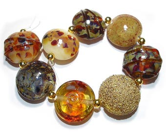 Handmade Glass Lampwork Beads, Earthenware Lentils