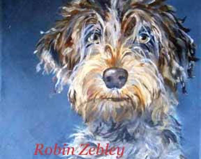 "Wirehaired Pointing Griffon Art Print, Dog Portrait PRINT from my Original Oil Painting, 8"" x 10"""