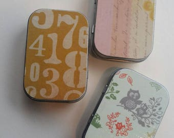 Mini hinge tin trio . . . Numbers & Owls and sweetness