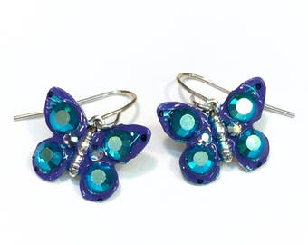 Butterfly Earrings Colorful and Sparkling Purple and Teal