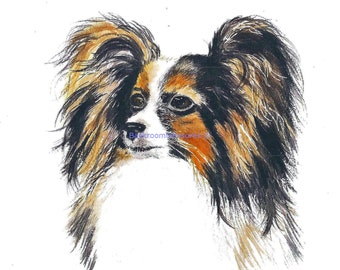 Aceo Pappillion Puppy Dog watercolor painting print reproduction