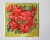 Pink and Red Roses acrylic painting on canvas board