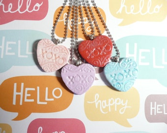 Heart Jewelry Valentine's Day Gift, Conversation Heart Pendant, Candy Heart Necklace XOXO hugs and kisses, I Love You, Handmade Polymer Clay