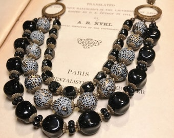 Black Triple Strand Statement Necklace with Vintage Beads Multistrand