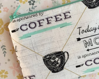 Coffee Lovers Bag - Small zipper pouch - change purse - wallet - Under 10 gift