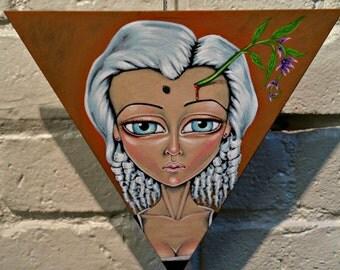 Wisteria-Big Eye Pop Surrealism Original Acrylic Painting 8 inches-By Alexandria Sandlin Cherrybones