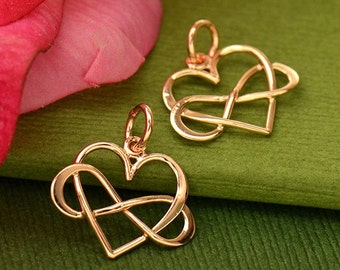 Rose gold heart with infinity charm. DIY jewelry, add to your necklace or charm bracelet.