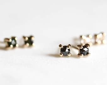 14k black rose cut diamond earrings, earrings, handmade, artisan made, eco friendly, studs