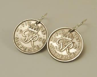 British Coin Earrings Monogram Six Pence