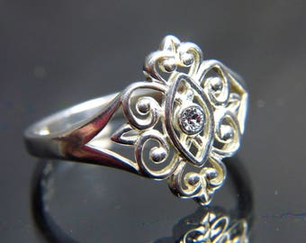 Diamond CZ Ring in sterling silver Victorian Medieval Scrollwork band size 10 large
