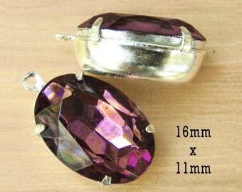 Amethyst Purple Vintage Glass Beads - 16x11 Oval - Rhinestone Earrings or Pendants - Glass Gems - Jewelry Supply - One Pair