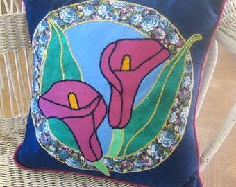 Calla Lily Pillow - Throw Pillow -  Floral Applique Pillow -  Flower Throw Pillow - Art Pillow - Designer Pillow