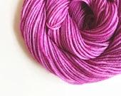 orchid / hand dyed yarn / fingering sock dk bulky yarn / super wash merino wool yarn / single or ply/ choose base / fuschia pink yarn