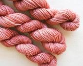 buff / hand dyed yarn / mini skein / sock fingering yarn / merino wool superwash / embroidery / semi-solid neutral pale pink beige yarn