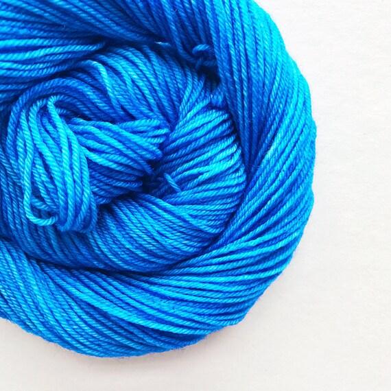 french blue / hand dyed yarn / fingering sock dk bulky yarn / super wash merino wool yarn / single or ply / choose your base / medium blue