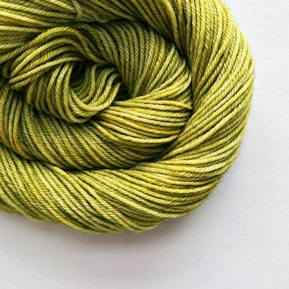 green tea / hand dyed yarn / fingering sock dk bulky yarn / super wash merino wool yarn / single or ply / choose your base / sage moss yarn