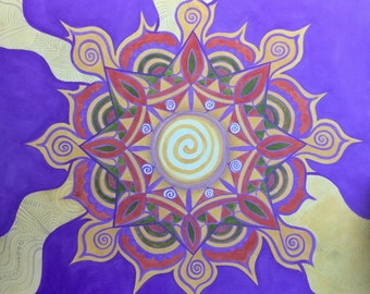 Shambala Original Oil Painting Art Abstract Psychedelic Mandala Centered Groovy Hippie Sun Home Decor Wall Art Metaphysical