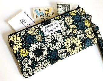 Navy Blue Flowers Wristlet Wallet,  Navy Blue Wallet Wristlet, Navy Wallet, Fabric Wristlet, Zipper Wallet, Fabric Wallet, iPhone Wristlet