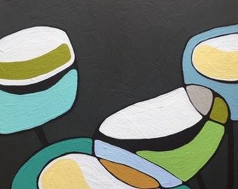"Poppies on Warm Grey Painting 15""x15"" // Modern Poppy // Modern Decor // Abstract Art // Rachel Austin // Circle Art // Mid Century"