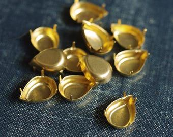 14x10mm Pear NO Loop Brass Rhinestone Prong Settings - 18pcs - Raw Brass Pear Prong Setting Rhinestone Teardrop Frame 14x10 Pear Setting