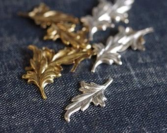 Little Pointed Ivy Leaf Stampings - Antiqued Silver OR Gold Plated - 12pcs - Antiqued Gold Leaves, Brass Leaf, Silver Leaf Embellishment