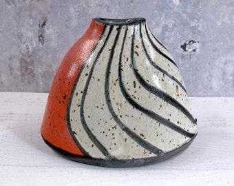 Pottery Vase in Orange with Black Stripes