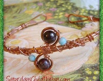 Garnet Bracelet, Handmade Copper Jewelry, Handmade Copper Bracelet, Wire Wrapped Jewelry, Copper Jewelry, Garnet Cuff Bracelet