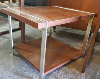 Amazing Beautiful Mid Century Retro Lane Wood And Chrome End Table